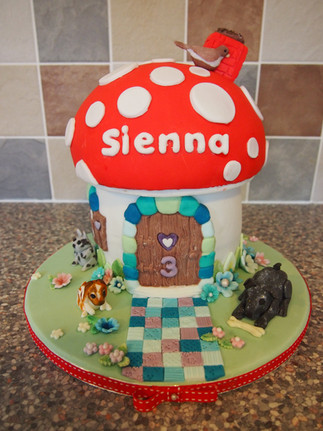 Toadstool House Birthday Cake