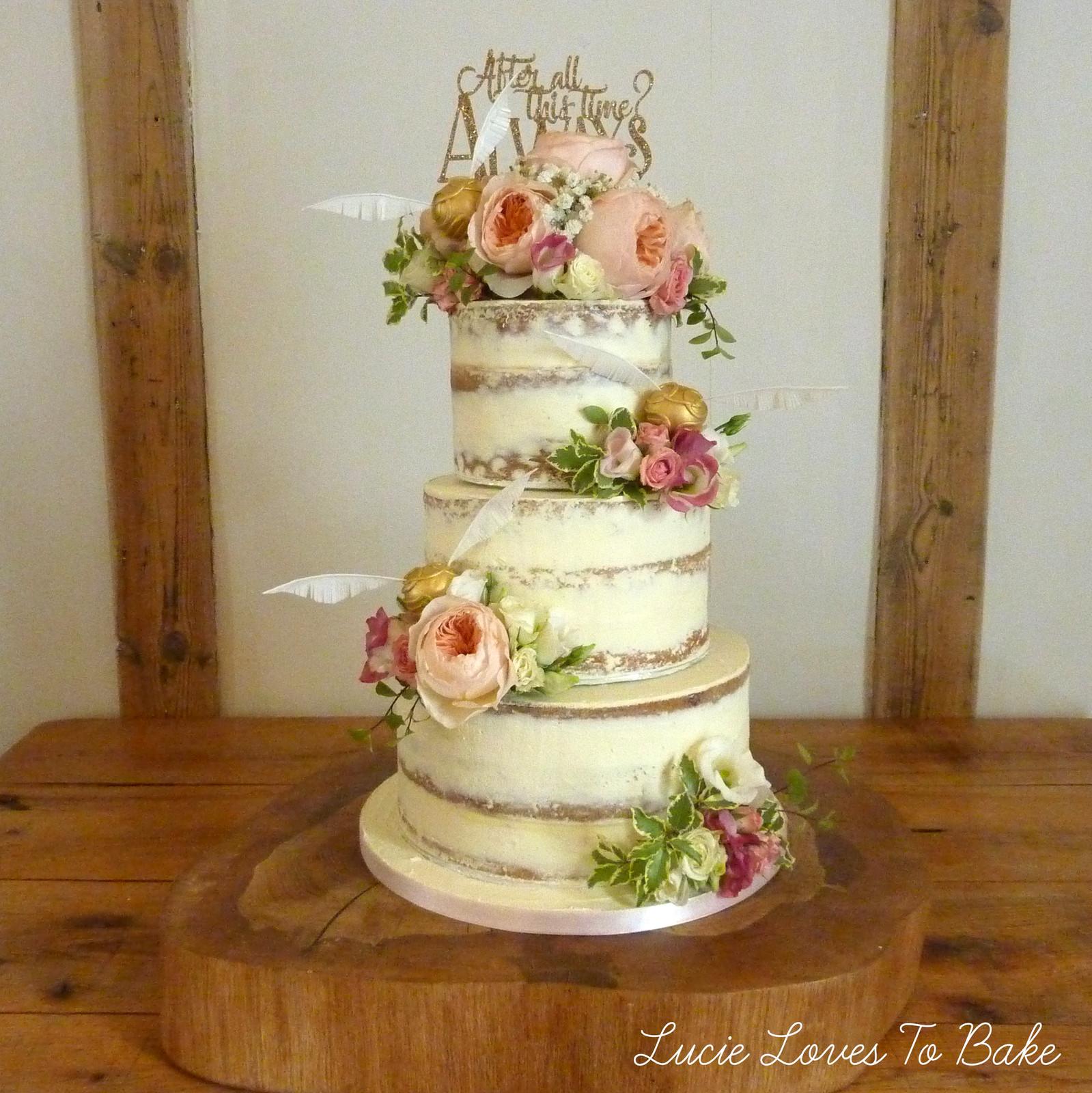 Harry Potter Wedding Cake.Harry Potter Floral Semi Naked Wedding Cake