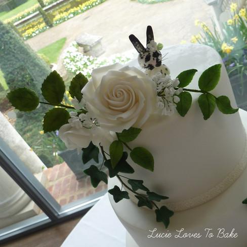Handmade Greenery & White Roses
