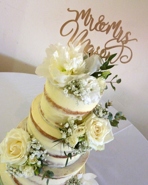 White Wedding Semi Naked Wedding Cake