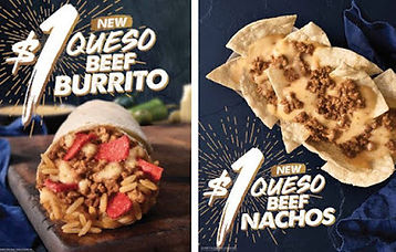 Taco Bell Queso Beef Burrito and Nachos