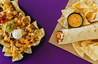 Taco Bell Steakhouse Nachos and Burrito.