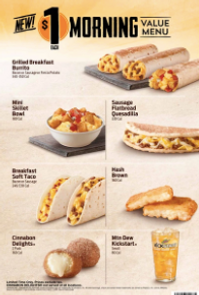 Taco Bel Morning Value Menu 2016