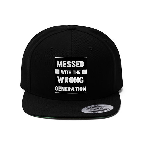 Messed With The Wrong Generation Unisex Flat Bill Hat