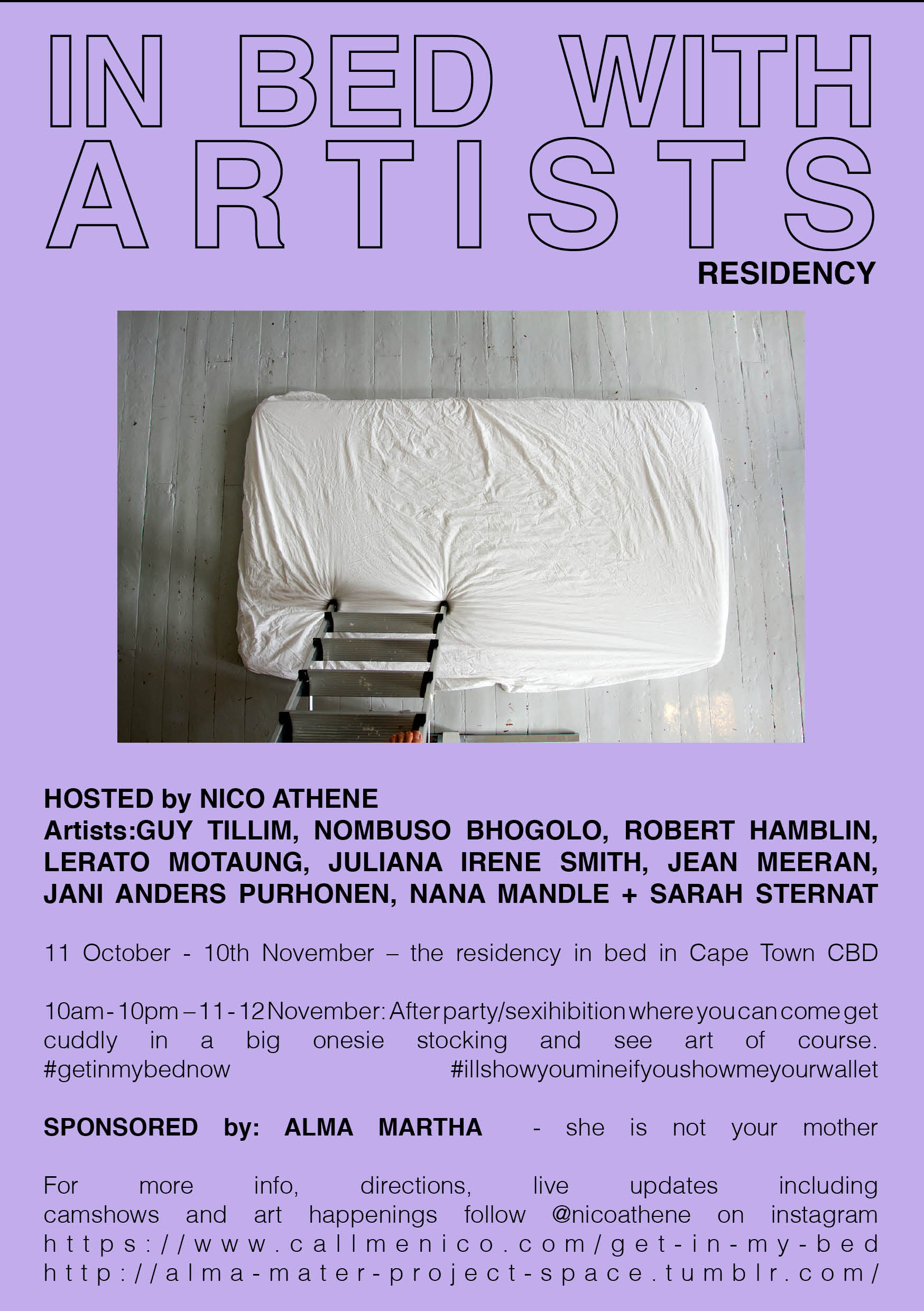 IN BED WITH ARTISTS RESIDENCY, 2017