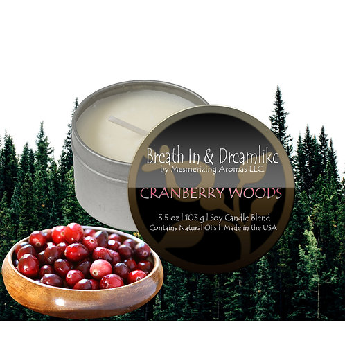 3.5 oz Cranberry Woods Travel Candle