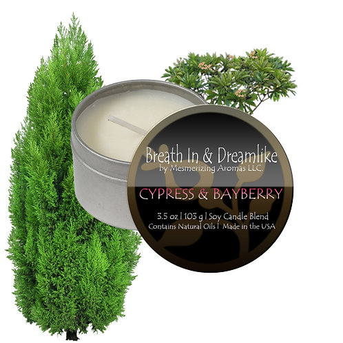 3.5 oz Cypress and Bayberry Travel Candle