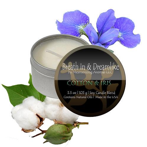 3.5 oz Cotton & Iris Travel Candle