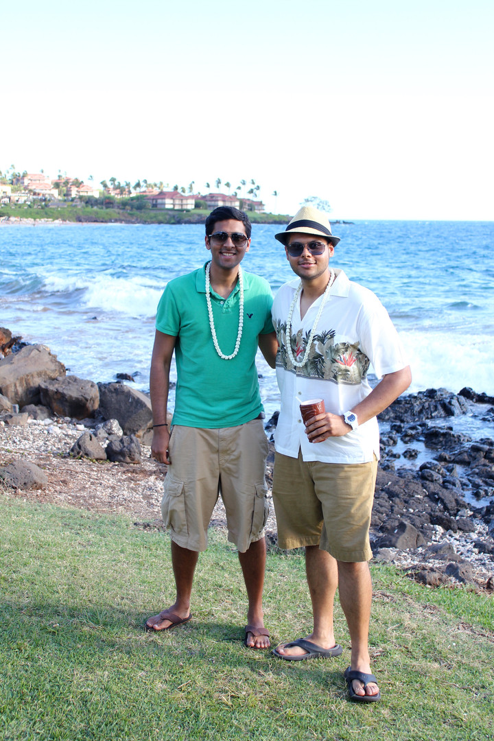 Brothers at a Luau in Hawaii