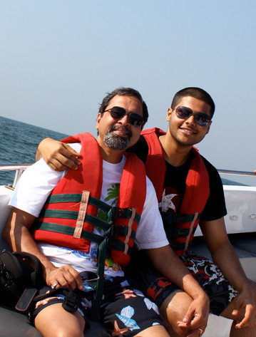 Ready to parasail with dad, Goa