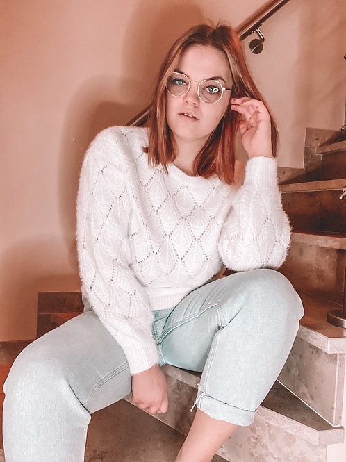 Soft perforated white sweater