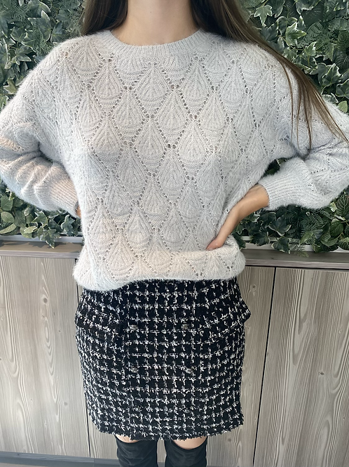 Perforated grey sweater