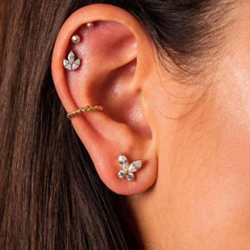 Gold butterfly stud