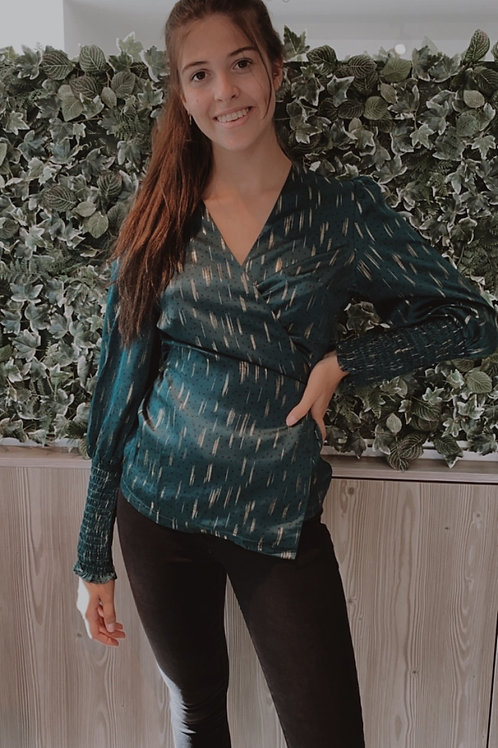 Emerald blouse with gold details