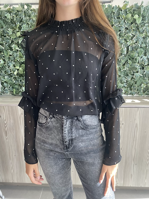 Blouse silver dots