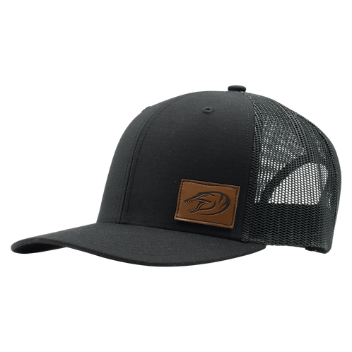 Leather Patch Hat - Black