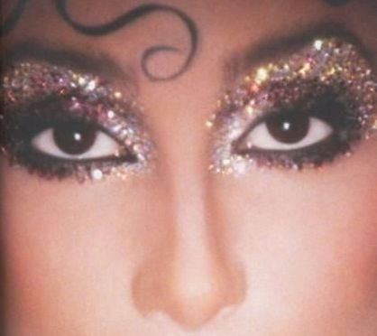 Cher with glittery eye makeup