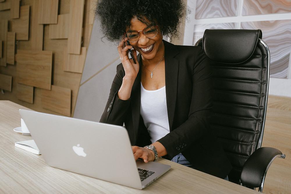 Woman video chatting