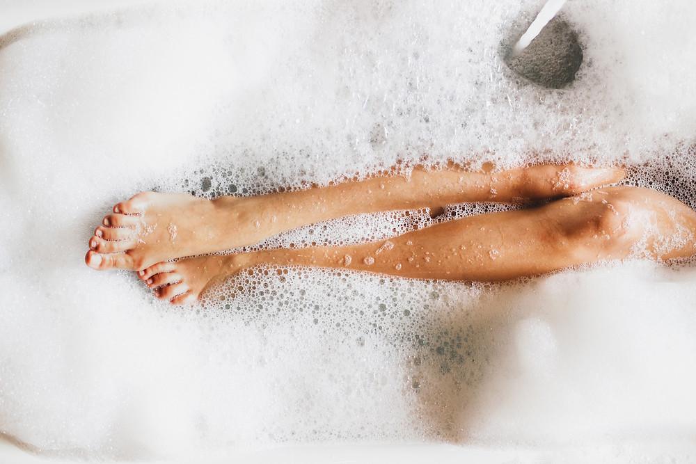 Legs in bathtub