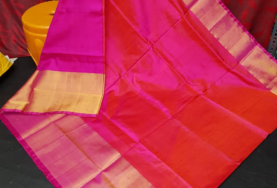Big Border Plain Uppada saree
