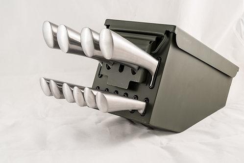10 pc Ammo Box Knife Block Cutlery Set