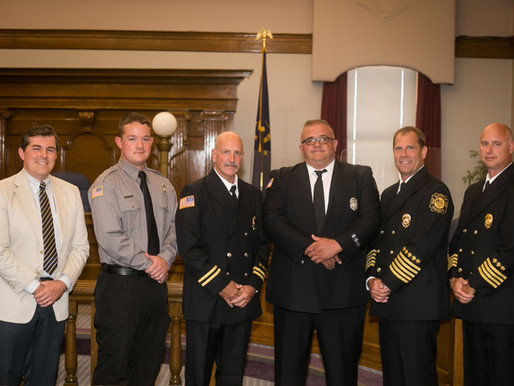 Huntington FD Promotes Two Swears in One