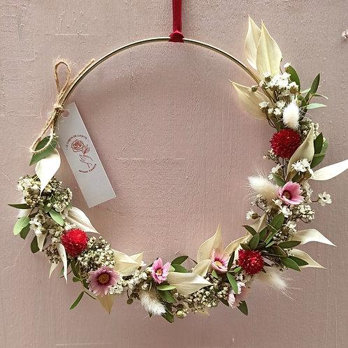 Fraise - La demi couronne de fleurs séchées