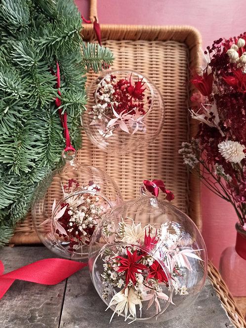 Décoration de Noël rouge, lot de trois