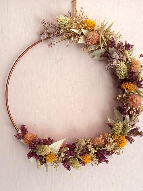 Gomphrena - demi couronne en fleurs séchées