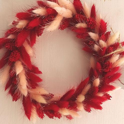 Rouge - la couronne en fleurs séchées