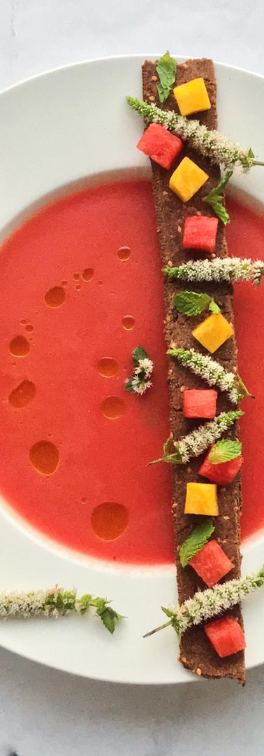 Watermelon and Mint flower Gazpacho with Finger millet cracker