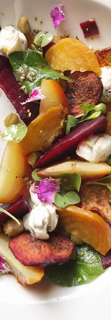 Golden and red beetroot salad with goat cheese mousse