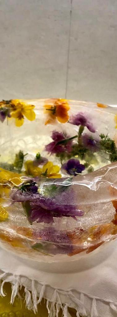 Edible Flower Ice Bowl by Namrata Kapur