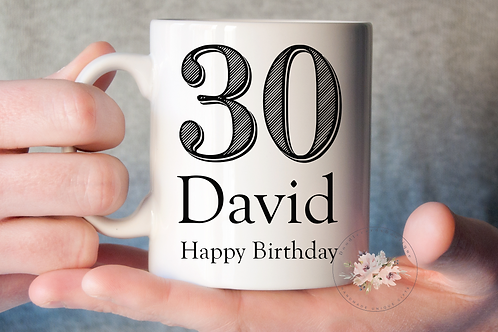 Stripe 30th Birthday Mug