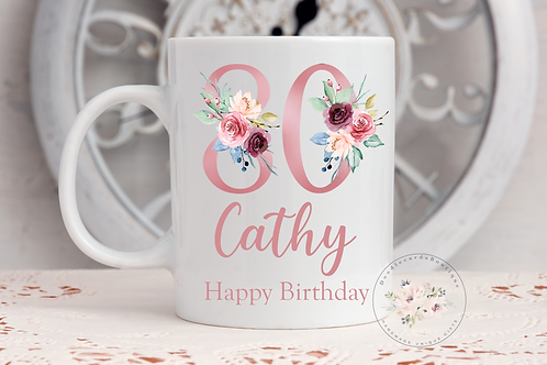 Floral 80th Birthday Mug