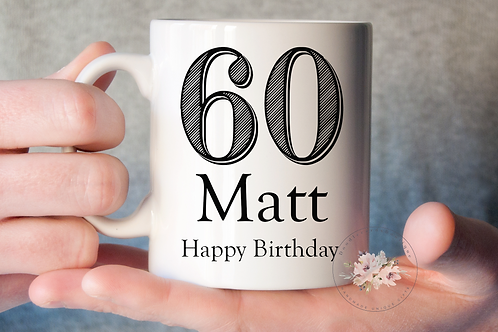 Stripe 60th Birthday Mug