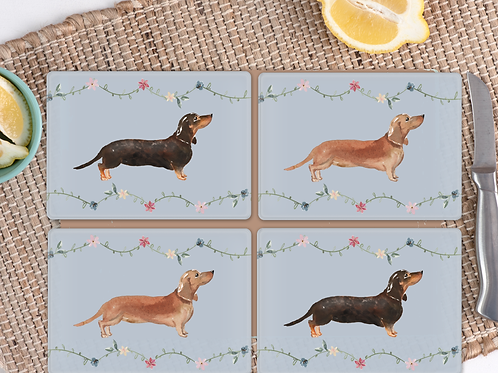 Set Of 4 Dachshund Glass Placemats