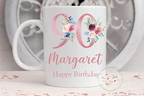 Floral 90th Birthday Mug