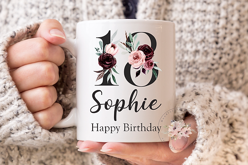 Floral 18th Birthday Mug