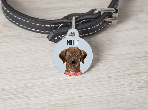 Brown Labrador Pet ID Tag