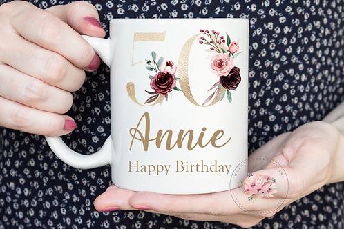 Floral 50th Birthday Mug