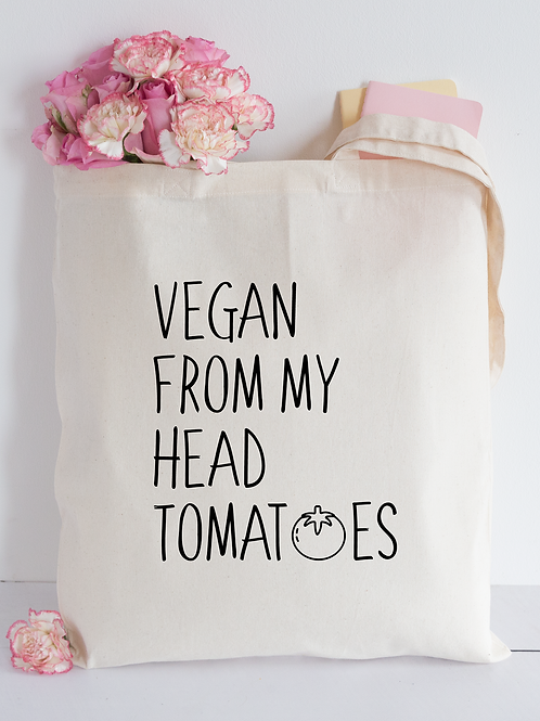 Vegan From My Head Tomatoes Tote Bag