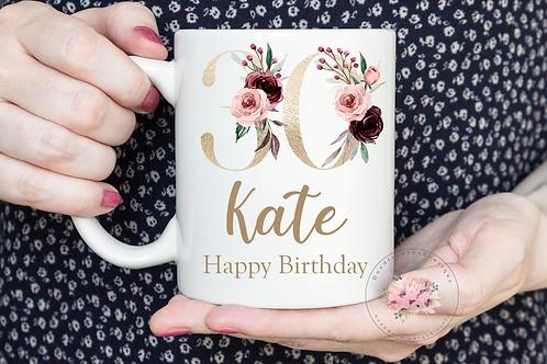 Floral 30th Birthday Mug