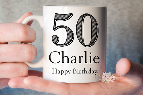 Stripe 50th Birthday Mug
