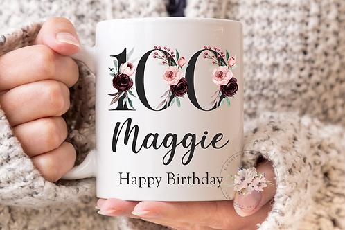 Floral 100th Birthday Mug