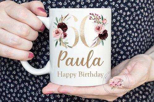 Floral 60th Birthday Mug