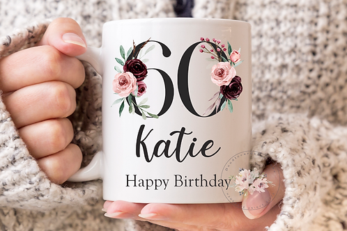 Floral 60th Birthday Mug