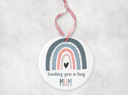 Mum Sending You A Hug Rainbow Ceramic Ornament