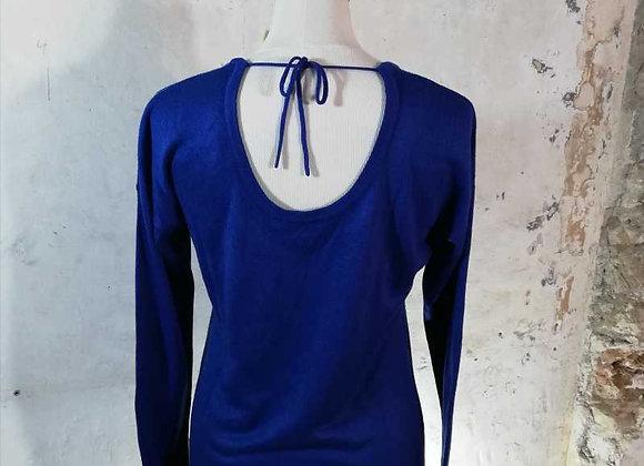 Pull fin et long bleu électrique Mango
