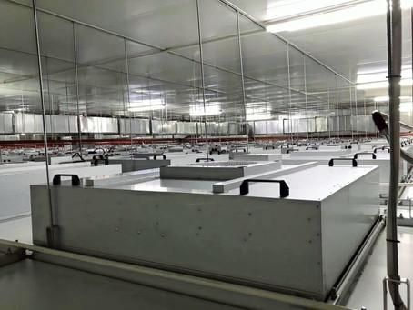 Покрытие потолка чистых помещений НЕРА фильтрами